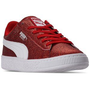 Puma Little Girls Heritage Basket Glitz sneakers